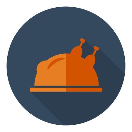 turkey flat design vector thanksgiving day icon