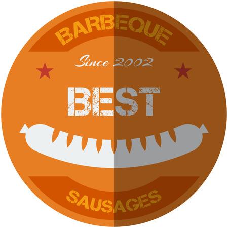 signboard design: Flat design bbq, grill; sausages; restaurant; retro vintage badges, ribbons and labels hipster signboard