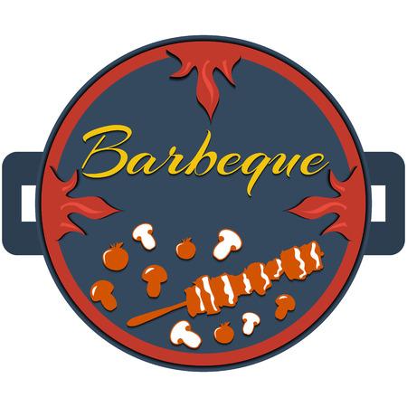 signboard design: flat design bbq, grill;  restaurant; kebab; badges, ribbons and labels signboard