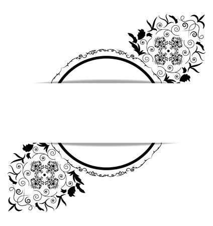 elegant white: vintage background frame design black vector Illustration