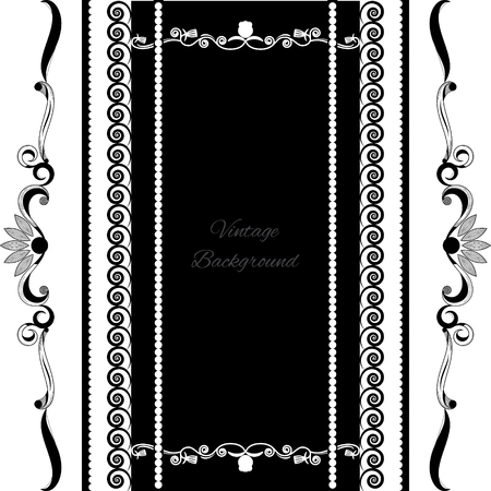 white victorian old retro vintage: vintage background frame design black vector Illustration