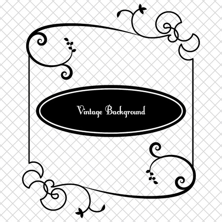 vintage pattern background: vintage background frame design black vector Illustration