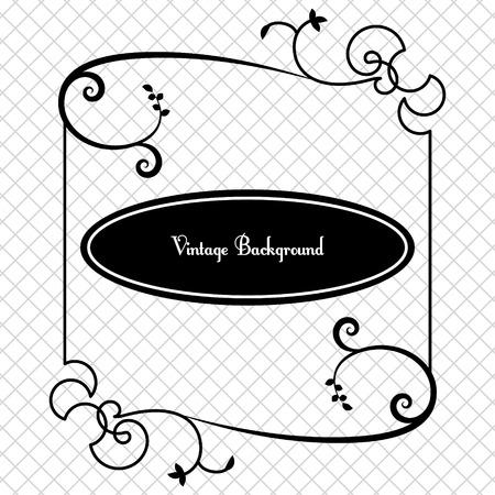 baroque border: vintage background frame design black vector Illustration