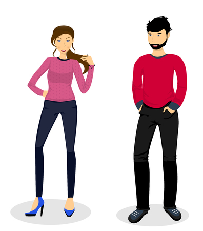 trendy male: Woman and man  in everyday clothes, vector