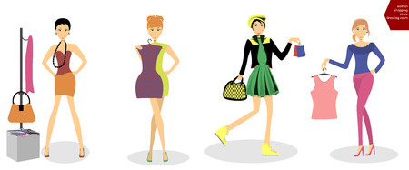 fitting room: Woman trying on dress, Woman shopping, Woman in fitting room. Vector Illustration