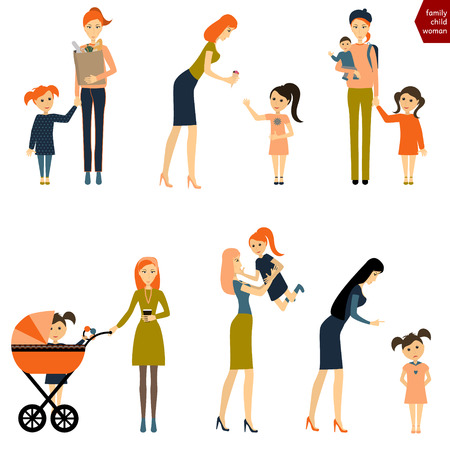 mother and baby: Set of woman with child. Mother with baby and pram. Vector Illustration