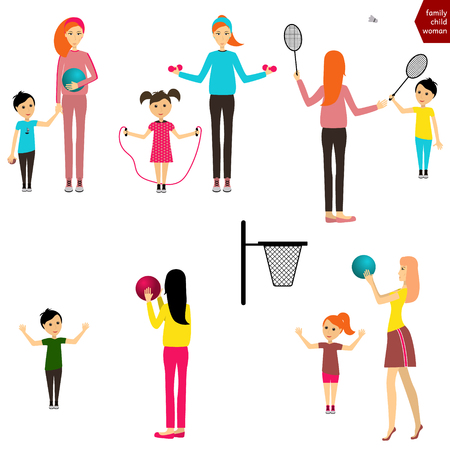 mom and son: Mother and child playing sports Mother with child playing with a ball  Mom and child playing badminton Set of people Set of mother with child vector Illustration
