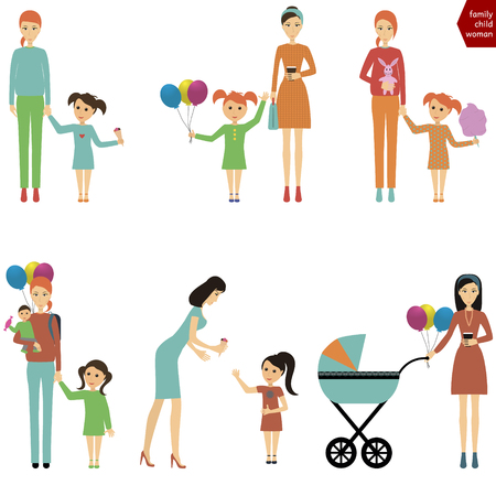 mom: Mother with a child for a walk  Mom with a child eating cotton candy  Mom and baby with balloons  Mom and baby happy  Mom with a child eating ice cream Illustration