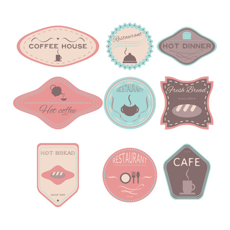 fresh bread: Fresh bread, coffee shop, restaurant Set retro vintage badges, ribbons and labels hipster