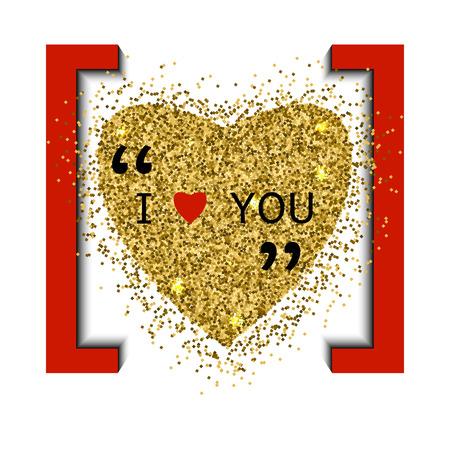 glisten: Heart gold vector, Valentines day, love luxury Illustration