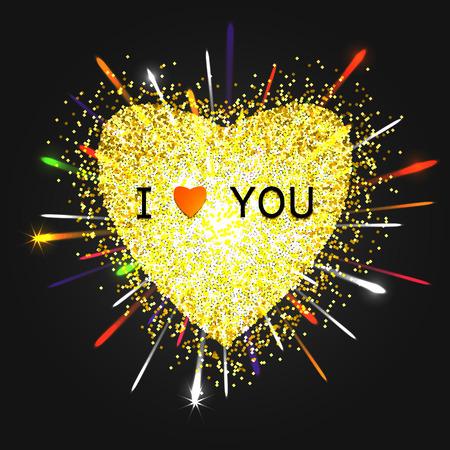glistening: Heart gold vector, Valentines day, love luxury Illustration