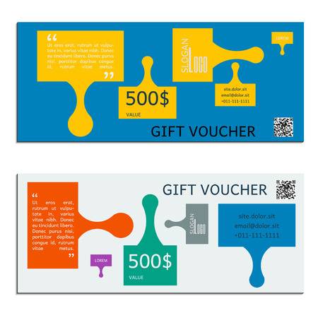 corporate gift: gift voucher vector coupon template for company corporate style present Illustration