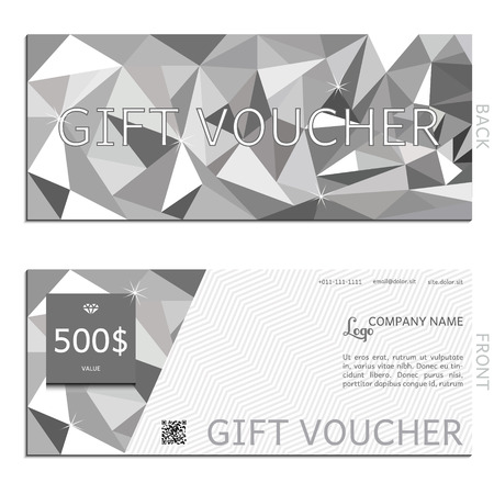 corporate gift: gift voucher polygon vector illustration coupon template for company corporate style present