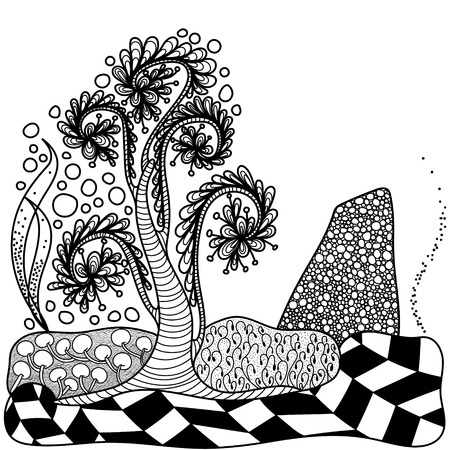 artistically: Artistically tree for coloring book.Vector. Black and white. Doodle. Hand-drawn.