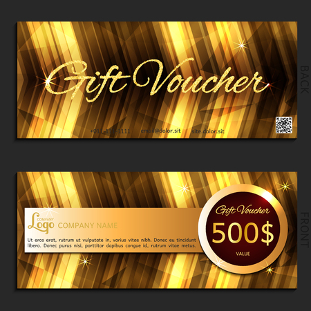 corporate gift: gift voucher gold vector illustration coupon template for company corporate style present