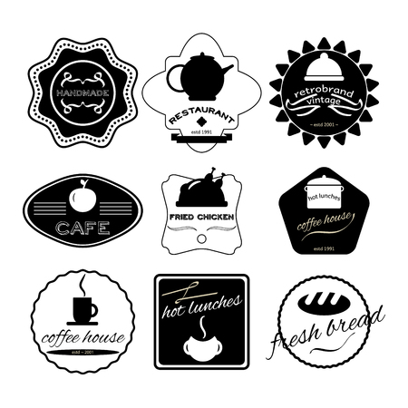 fresh bread: Fresh bread, coffee shop, restaurant Set retro vintage badges, ribbons and labels hipster. Vector, illustration. Black and white