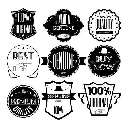 premium; guaranteed; Set retro vintage badges, ribbons and labels hipster signboard premium, guaranteed, genuine,original, Vector, illustration. Black and white