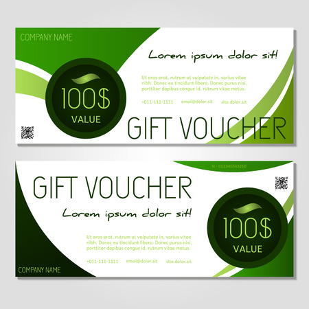 corporate gift: gift voucher vector illustration coupon template for company corporate style present.