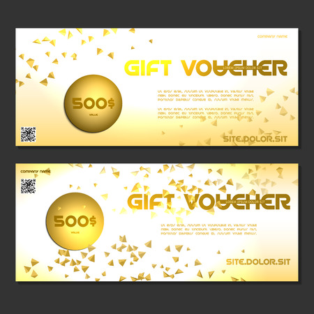 corporate gift: gift voucher vector illustration coupon template for company corporate style present. Easy to use and edit. Vector, illustration. Layout template. Gold Illustration