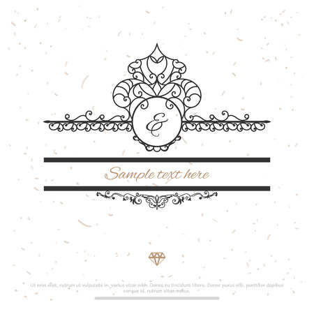 heraldic design: Vintage Frame for Luxury Logos, Restaurant, Hotel, Boutique or Business Identity. Royalty, Heraldic Design with Flourishes Elegant Design Elements. Vector Illustration Template. Save the date