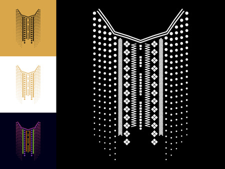 Ethnic geometric neck line embroidery. Vector, illustration. Decoration for clothes. Front collar ethnic design.