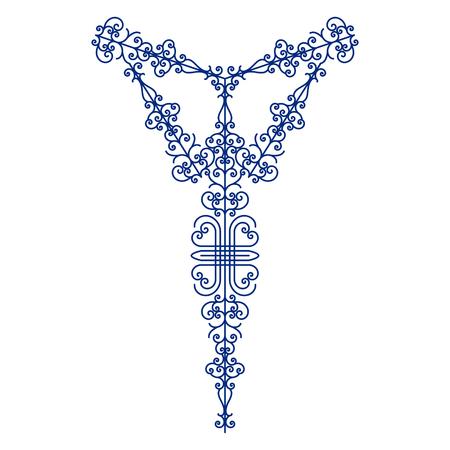 broderie cou floral pour la mode. fleurs ethniques de broderie ligne de cou. Vector, illustration.