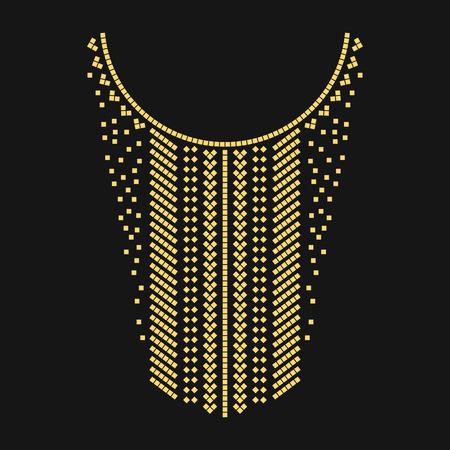 Ethnique géométrique broderie ligne de cou. Vector, illustration. Décoration pour les vêtements. col avant de conception ethnique.