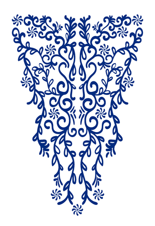 neckline: Ethnic curl neck line embroidery. Vector, illustration. Decoration for clothes. Front collar ethnic design.