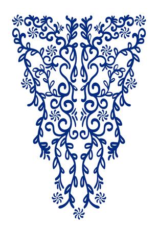 Ethnique boucle broderie ligne de cou. Vector, illustration. Décoration pour les vêtements. col avant de conception ethnique.