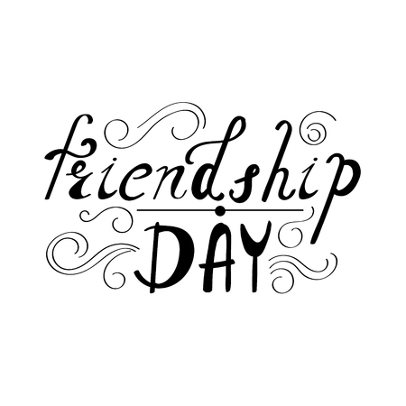 friendship day: Inscription - Friendship day. Hand drawn lettering. Vector, illustration. Modern calligraphy.
