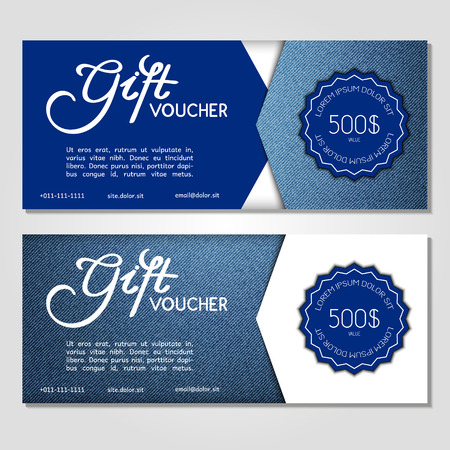 blue jeans: Gift voucher. Vector, illustration. Card template. Blue jeans. Illustration