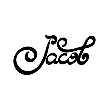 jacob: Male name - Jacob. Hand drawn lettering. Vector, illustration. Modern calligraphy. Illustration