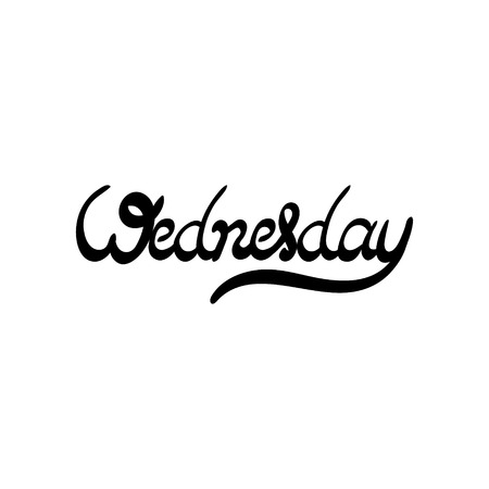 wednesday: Day of the week - Wednesday. Hand drawn lettering. Vector, illustration. Modern calligraphy.