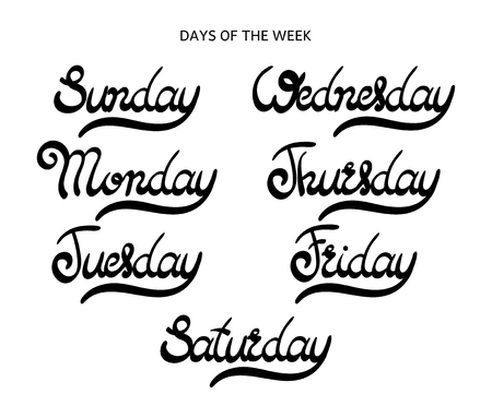 tuesday: Days of the week - Monday, Tuesday, Wednesday, Thursday, Friday, Saturday, Sunday. Hand drawn lettering. Vector, illustration. Modern calligraphy.