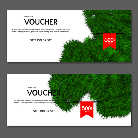 christmas gifts: Gift voucher. Vector illustration.