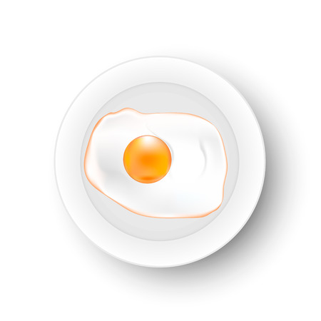 Fried egg on a plate Vector.