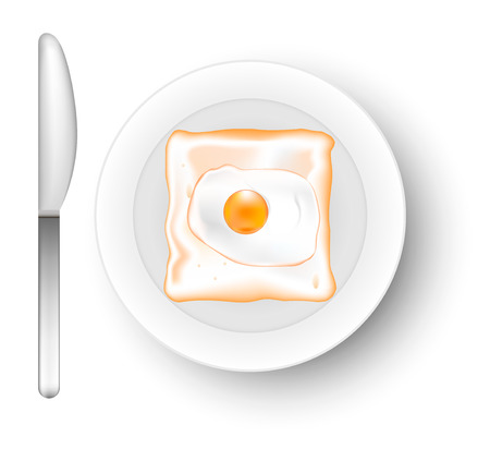 Toast with egg. Vector.