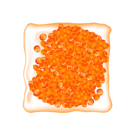 Spoon with red caviar. Vector.