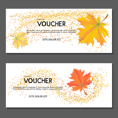 Gift voucher with yellow leaves, Golden autumn concept design template for discount card, coupon, ticket.