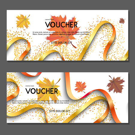 Gift voucher. Vector, illustration. Yellow leaves. Golden autumn. Template for discount card, coupon, corporate certificate, ticket.