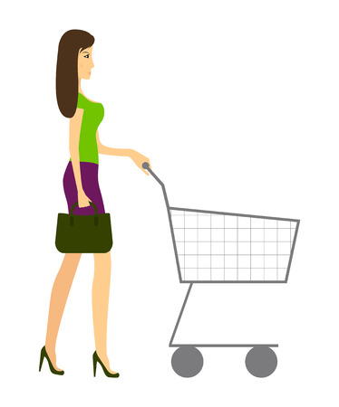 Slender young woman with an empty shopping basket on a white background. Mom in high heels with a bag. Vector.