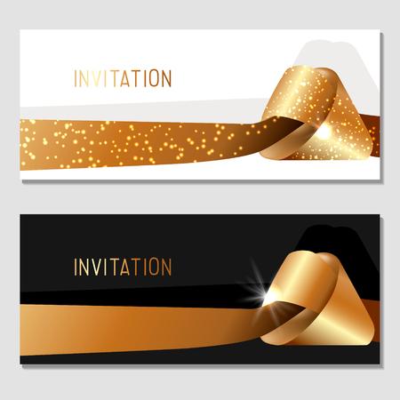Horizontal gift gold design background with ribbons for invitation, voucher. For a banner, postcards. Reklamní fotografie - 99523864