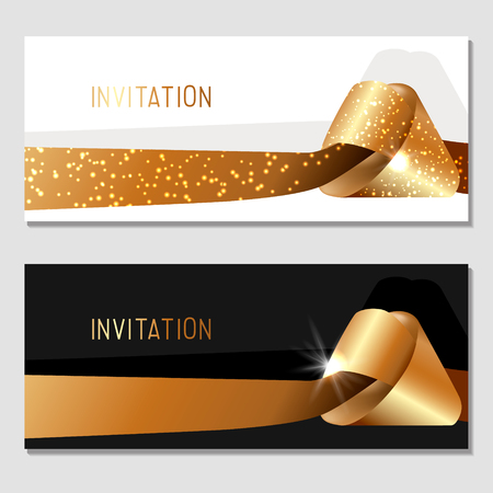 Horizontal gift gold design background with ribbons for invitation, voucher. For a banner, postcards.