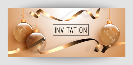 Horizontal gift gold design background with ribbons and balls for invitation, birthday, voucher. For a banner, postcards. flyer, label, certificate, company card. Merry New Year and Happy Christmas. Illustration