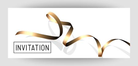 Horizontal gift gold design background with ribbons for invitation, birthday, voucher.