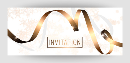 Horizontal gift gold design background with ribbons for invitation, birthday, voucher. For a banner, postcards. flyer, label, certificate. Vector. Merry New Year and Happy Christmas. Banque d'images - 99503237