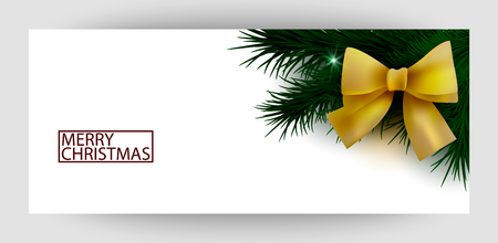 Horizontal background with yellow satin bow and tree branches for invitation, certificate, banner and flyer, branded card. Merry New Year and Happy Christmas. Vector.