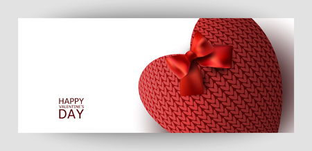 Horizontal gift design background with red knitted hearts. For Valentine's Day, Wedding, Birthday. For a banner, postcards. flyer, label, certificate, company card. Vector.