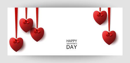 Priorità bassa orizzontale di disegno del regalo con i cuori lavorati a maglia rossi. Per San Valentino, Matrimonio, Compleanno. Per uno striscione, cartoline. volantino, etichetta, certificato, carta dell'azienda. Vettore. Archivio Fotografico - 98173424