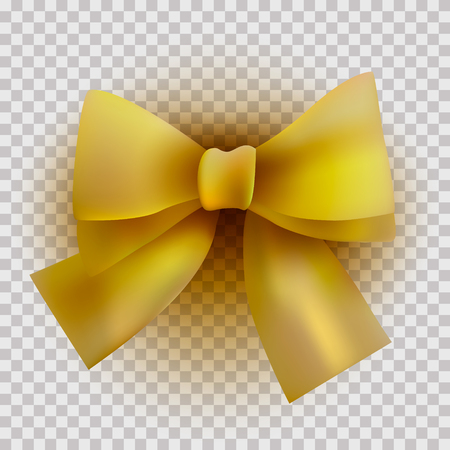 Yellow Satin bow on a transparent background for a holiday Vector Çizim